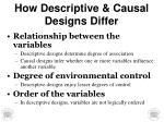 how descriptive causal designs differ
