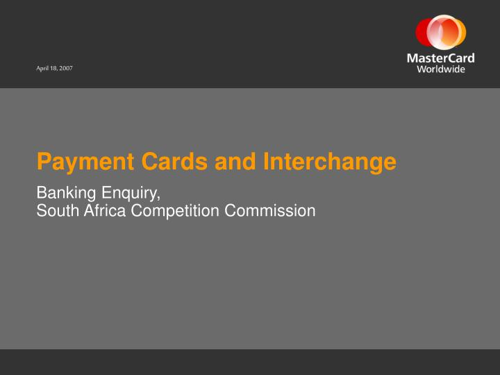 payment cards and interchange n.