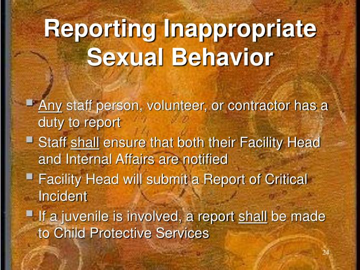 Reporting Inappropriate Sexual Behavior