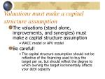 valuations must make a capital structure assumption
