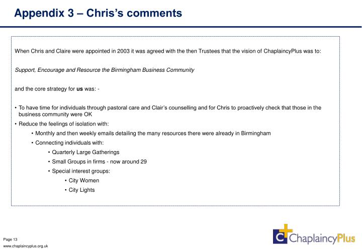 Appendix 3 – Chris's comments
