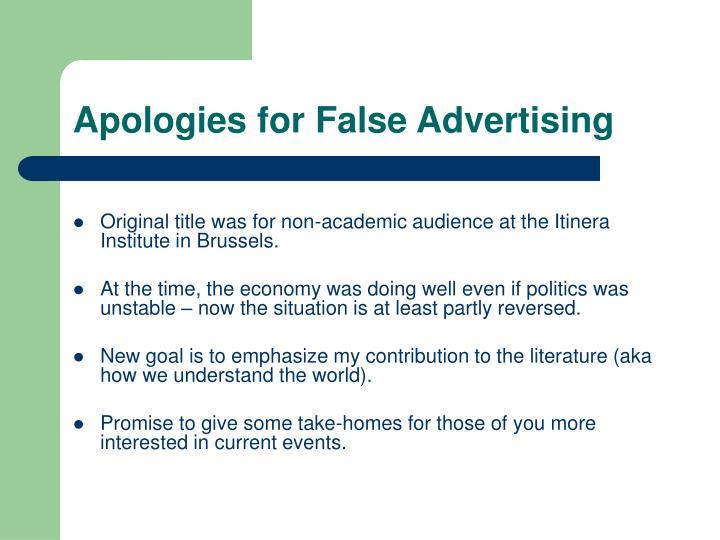 Apologies for false advertising