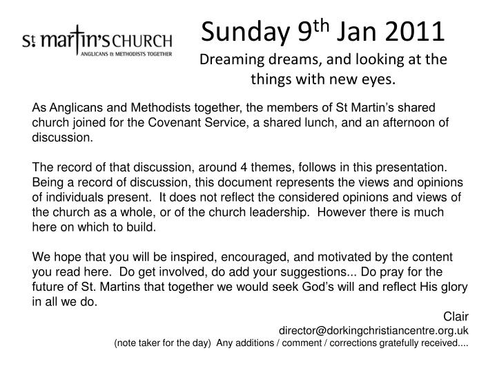 sunday 9 th jan 2011 dreaming dreams and looking at the things with new eyes n.