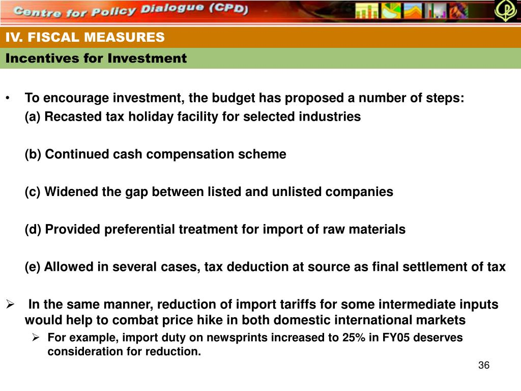 IV. FISCAL MEASURES
