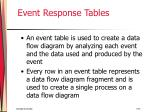 event response tables