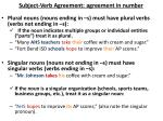 subject verb agreement agreement in number