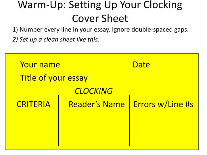 warm up setting up your clocking cover sheet