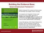 building the evidence base green infrastructure framework 1