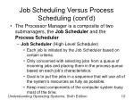 job scheduling versus process scheduling cont d