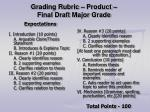 grading rubric product final draft major grade