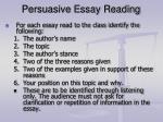 persuasive essay reading