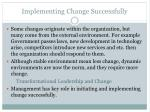 implementing change successfully