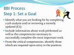 bbi process step 1 set a goal