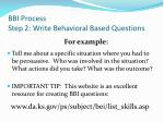 bbi process step 2 write behavioral based questions3