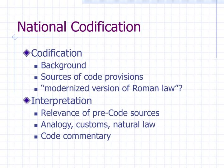 national codification n.