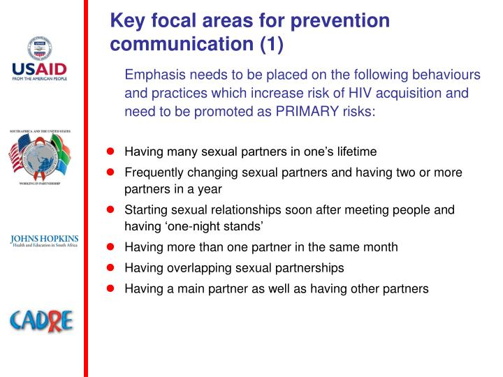 Key focal areas for prevention communication (1)