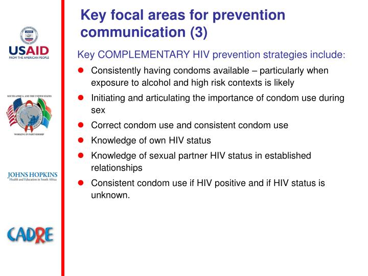 Key focal areas for prevention communication (3)