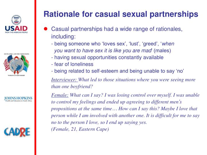 Rationale for casual sexual partnerships