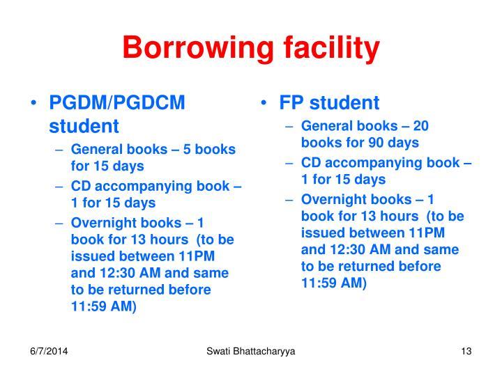 Borrowing facility
