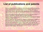 list of publications and patents