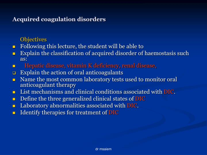 Acquired coagulation disorders2