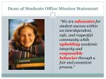 dean of students office mission statement