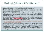 role of advisor continued