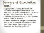 summary of expectations cont