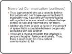 nonverbal communication continued