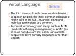 verbal language
