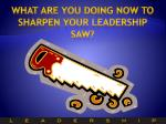 what are you doing now to sharpen your leadership saw
