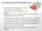 no critical mass of sti research in la