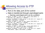 allowing access to ftp