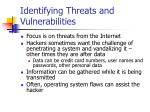 identifying threats and vulnerabilities