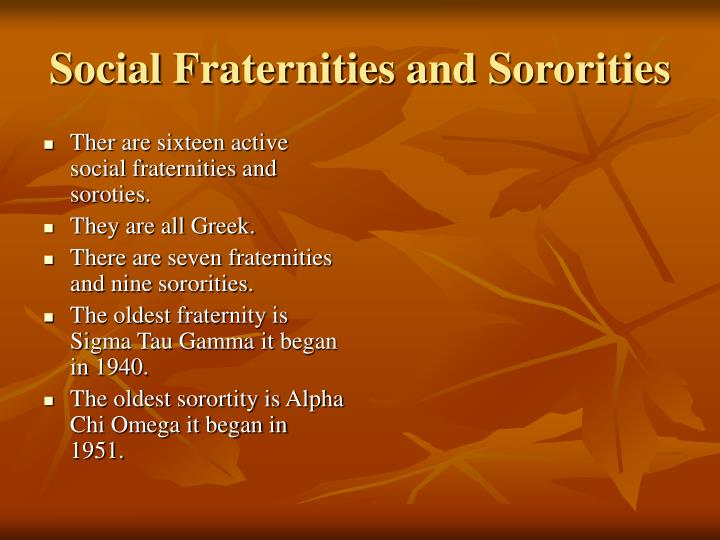 Ther are sixteen active social fraternities and soroties.