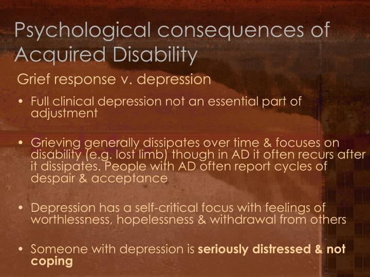 Psychological consequences of Acquired Disability
