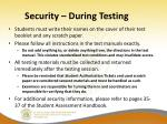 security during testing