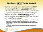 students not to be tested