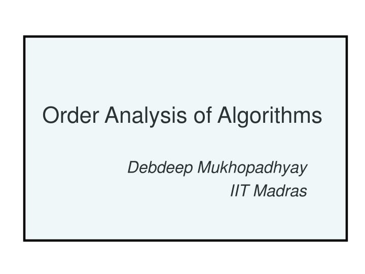 order analysis of algorithms n.