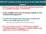 will scp continue being an issue in the asia pacific region