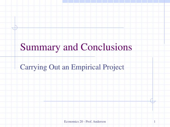 summary and conclusions n.