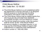 child abuse hotline ark code ann 12 18 301