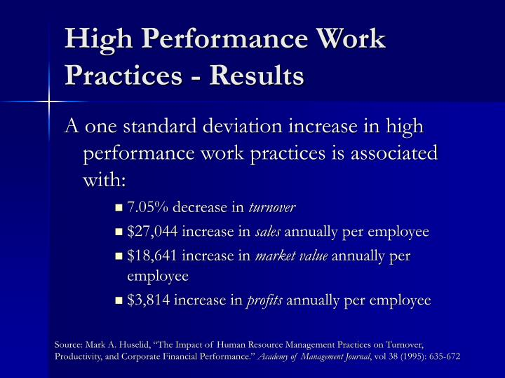 High Performance Work Practices - Results