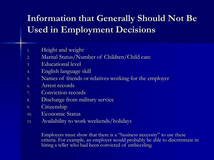 Information that Generally Should Not Be Used in Employment Decisions