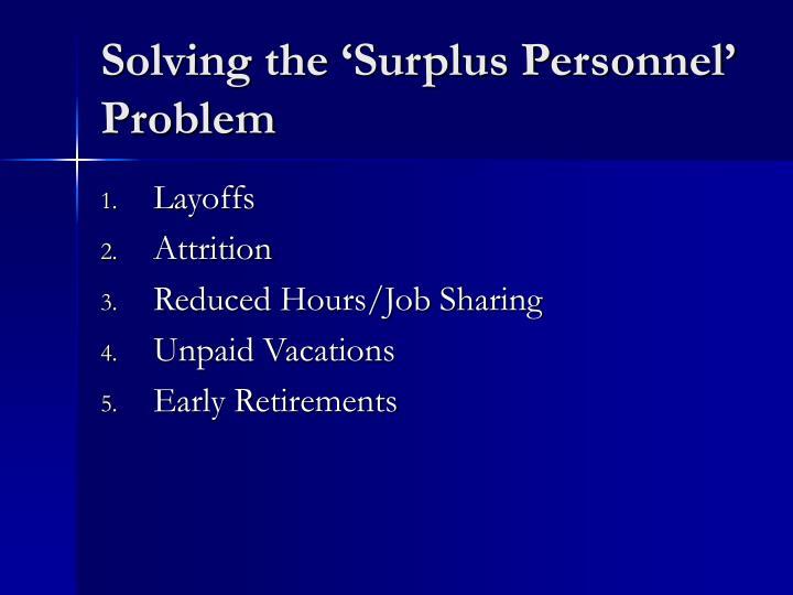 Solving the 'Surplus Personnel' Problem