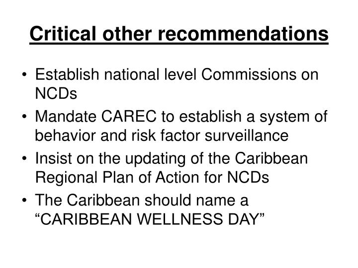 Critical other recommendations