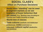 social class s affect on purchase decisions