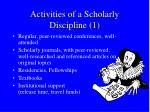 activities of a scholarly discipline 1