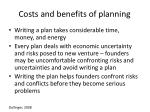 costs and benefits of planning