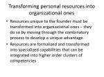 transforming personal resources into organizational ones